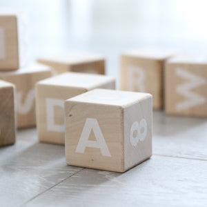 Wooden Alphabet Blocks - white text