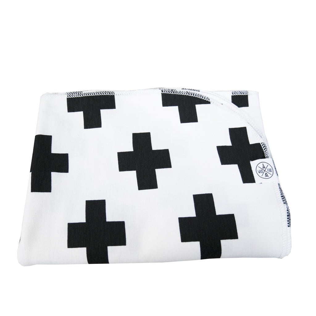 Black Cross baby blanket