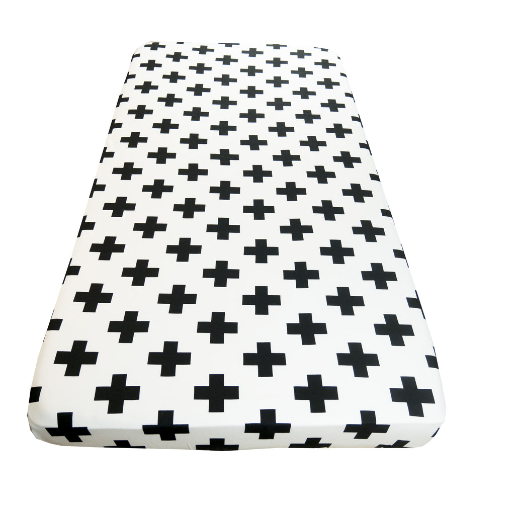 Super soft Black Cross fitted cot sheet