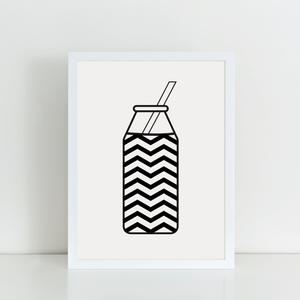 Chevron Milk Bottle A4 print
