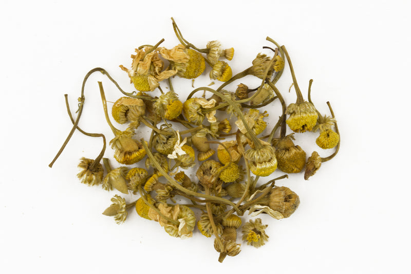 Close up of loose chamomile flower buds with the stems.