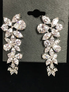 Faux Diamond Leaf Pattern Chandelier Earrings