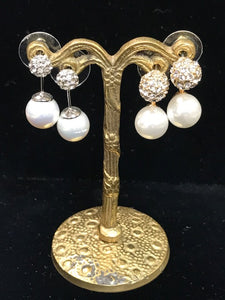 Faux Pearl and Diamond Drop Earrings