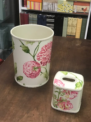 Floral Wastebasket and Matching Tissue Box
