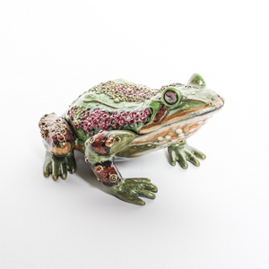 Jay Strongwater Enameled Jeweled Frog Clock