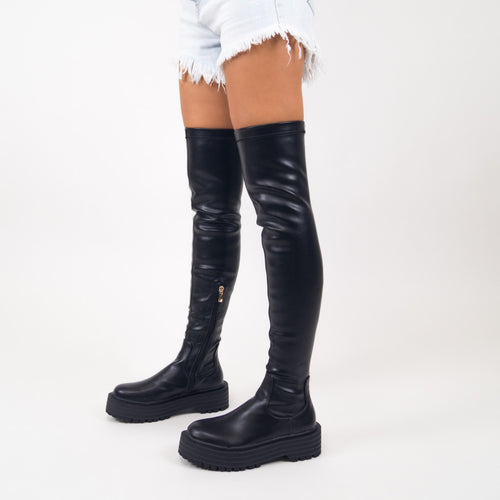 EDEN - Black PU Over The Knee Chunky Sole Boots