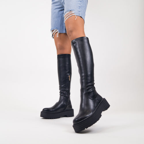 TEGAN - Black PU Knee High Chunky Sole Boots