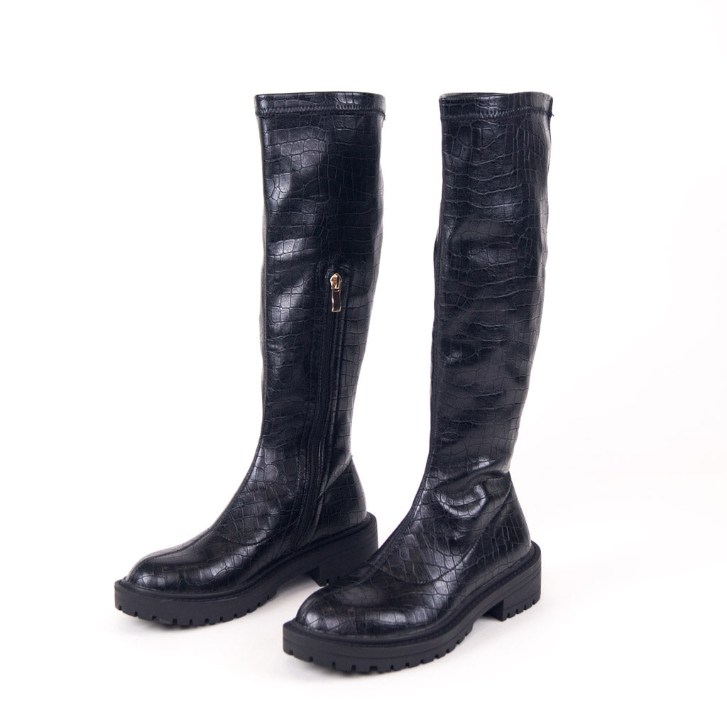 LEILA - Black Croc PU Knee High Chunky Sole Boots