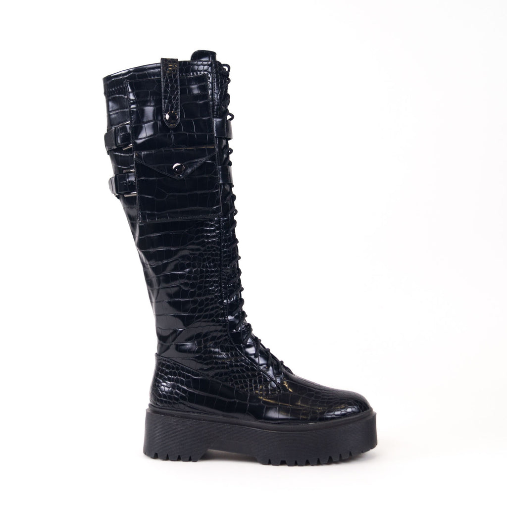 RILEY - Black Croc Lace Up Knee High Chunky Sole Boots with Removable Pockets