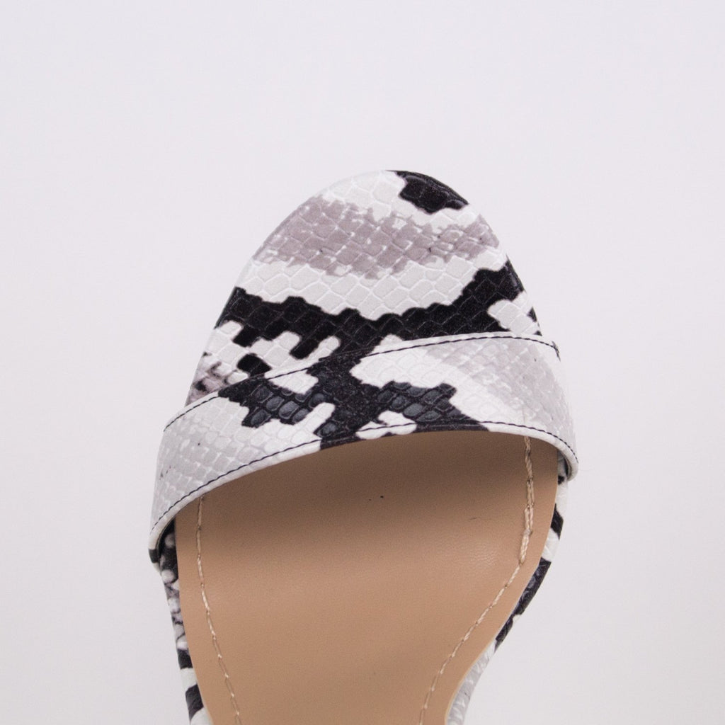 ALBA - Black and White Snake Heel