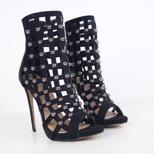 ZOE - Peep Toe Studded Ankle Boot