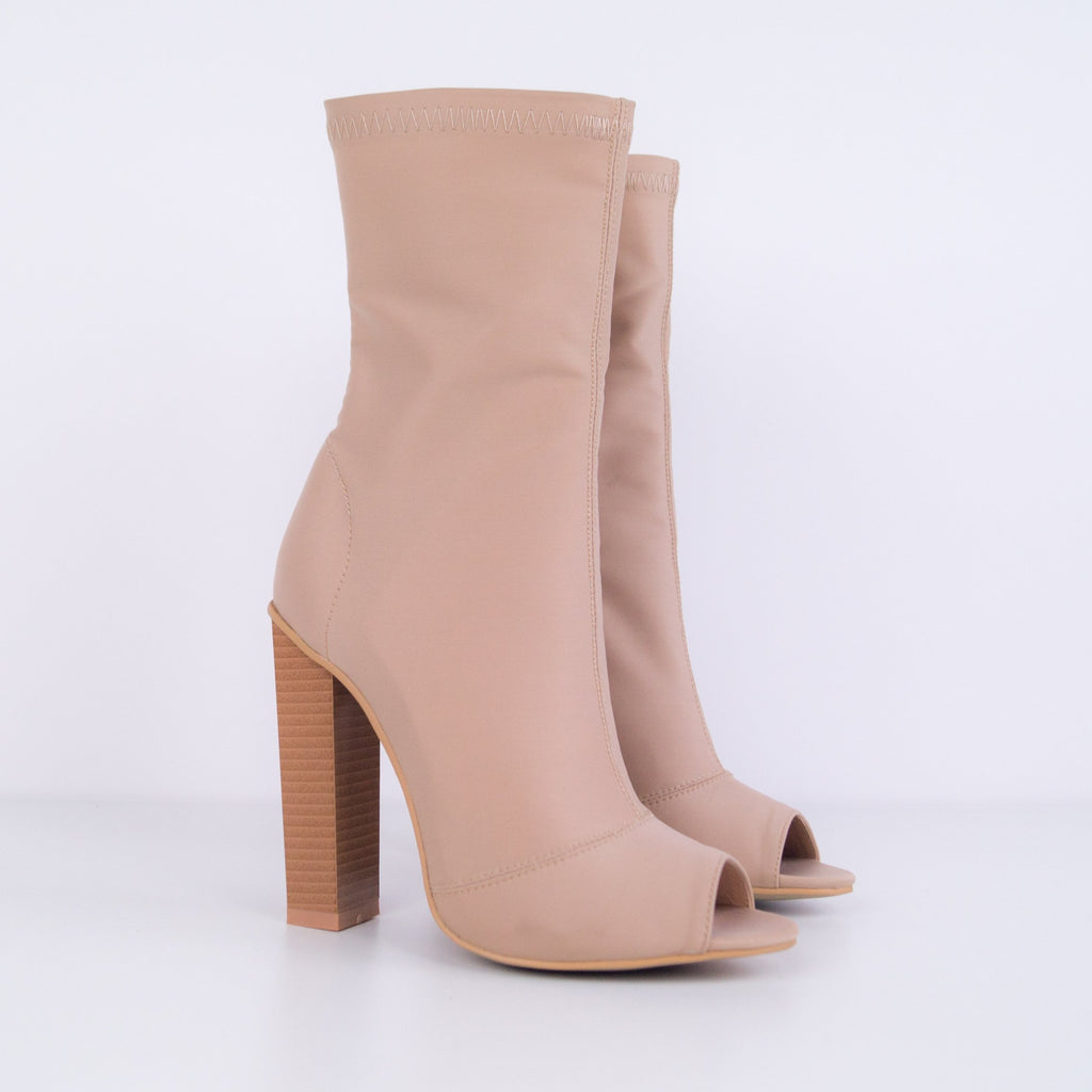 KYLEE - Peep Toe Boots with Block Heel