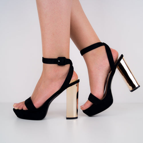 Lily - Black Suede Sandal with Gold Block Heel
