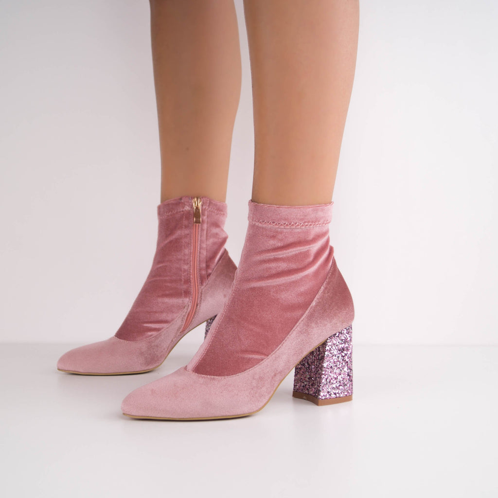 CHARMY -  Velvet Ankle Boot with Glitter Heel