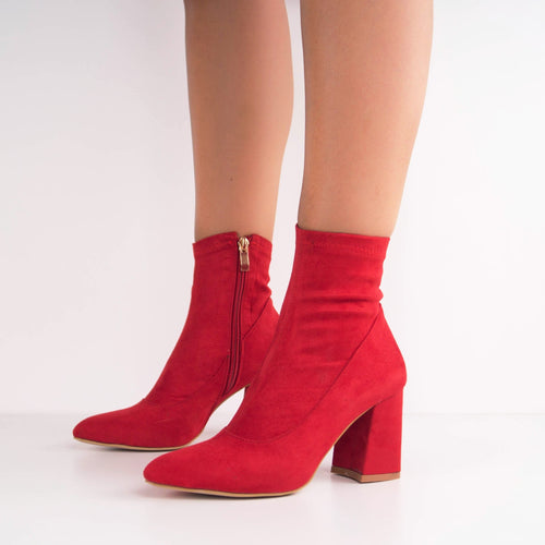 ELLIE -  Faux Suede Ankle Boot with Mid-Heel