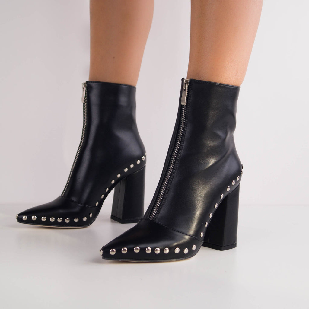 NORA - Ankle Boots with Studs and Zip