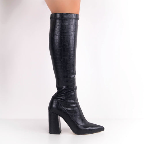 MEGAN - Block Heel Knee High Boots