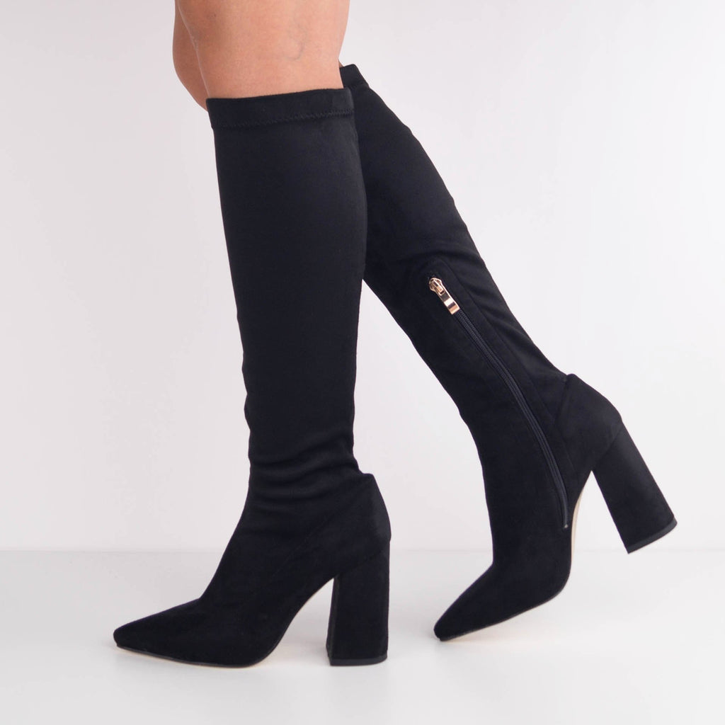 IRIS -  Block Heel Knee High Boots