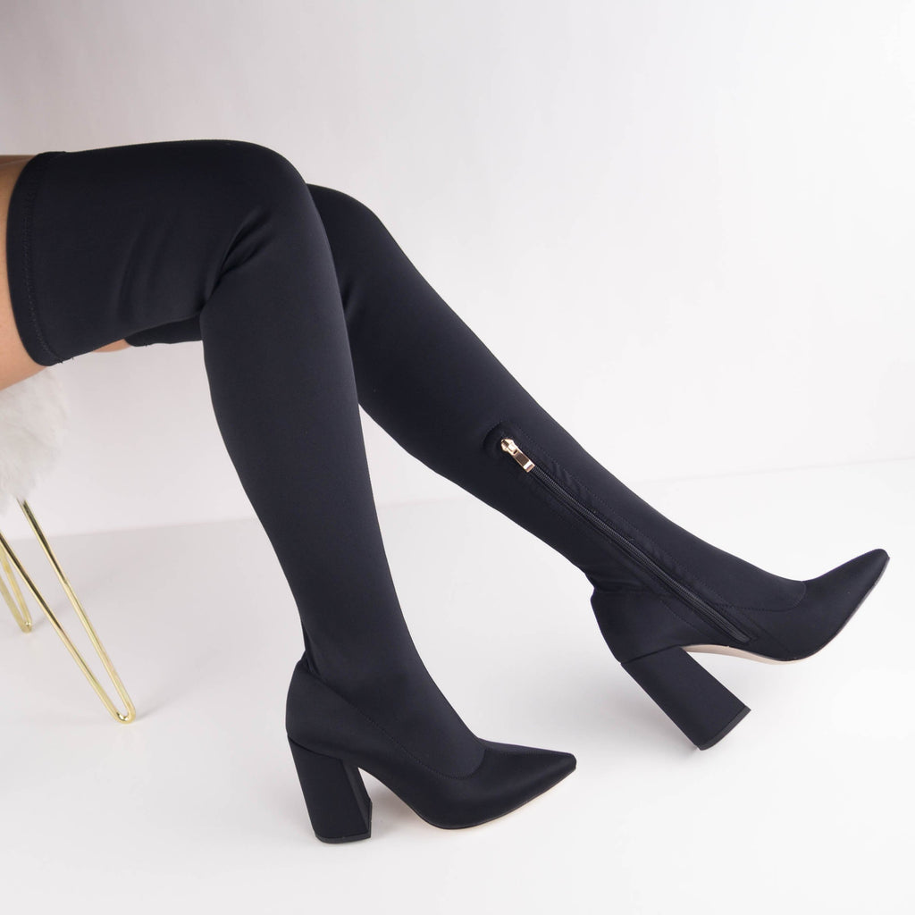 CALLIE - Block Heel Over the Knee Boots