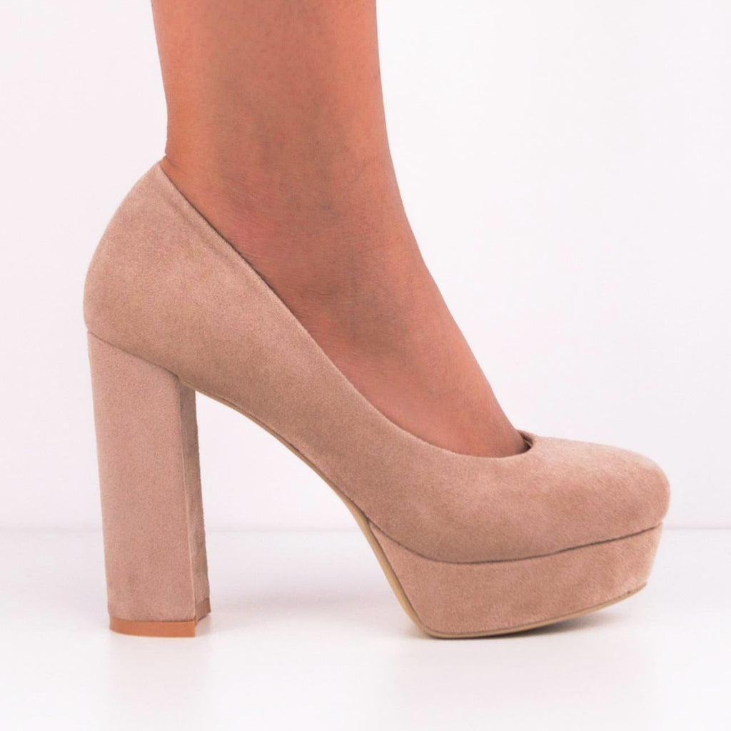 JANA Round Toe Pump with Platform and Block Heels
