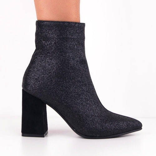 FABY Duo Glitter-Suede Ankle Boots with Block Heels