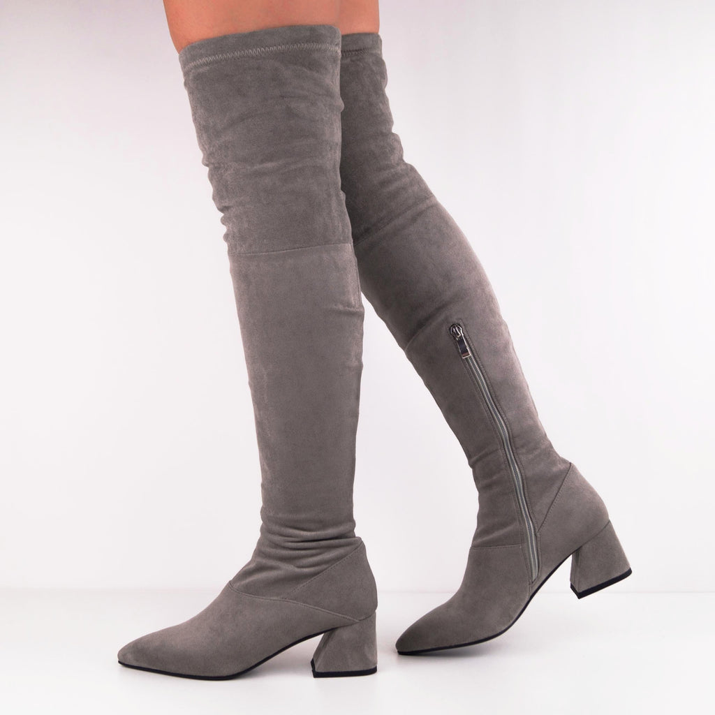 FAITH Suede Over-the-knee Boots with Mid-Heels