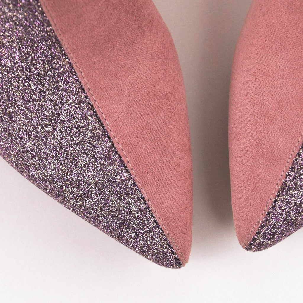 DESTINY Duo Pink Glitter-Suede Ankle Boots with Kitten Heels