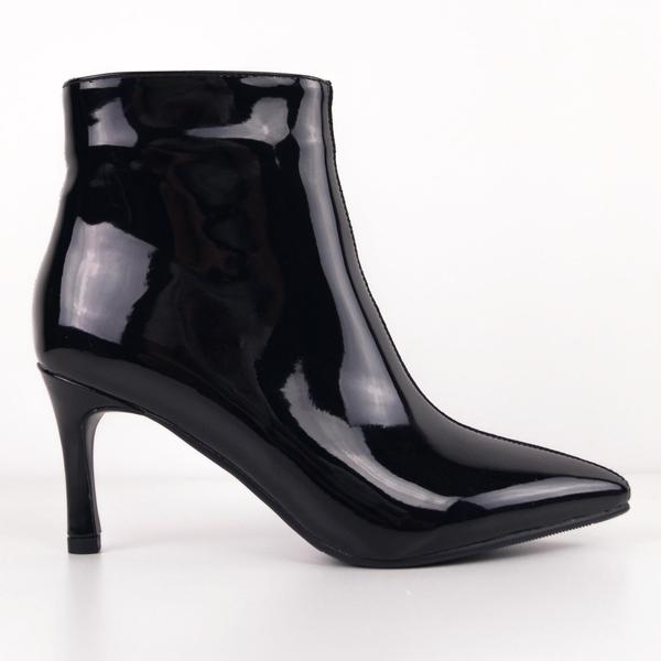 VICKY - Duo Black Patent-Suede Ankle Boots with Kitten Heels