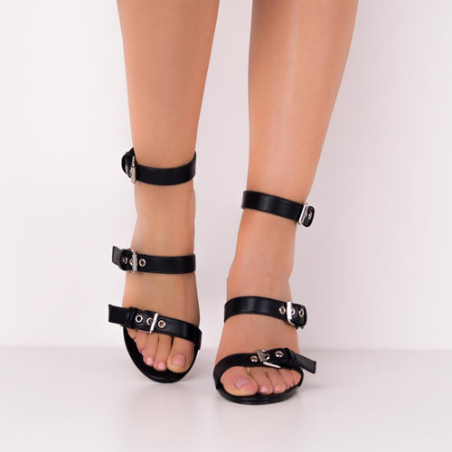PHIBY - Black Three Straps Block Heels