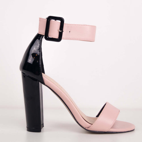 AISHA - Pink PU and Black Patent Block Heels