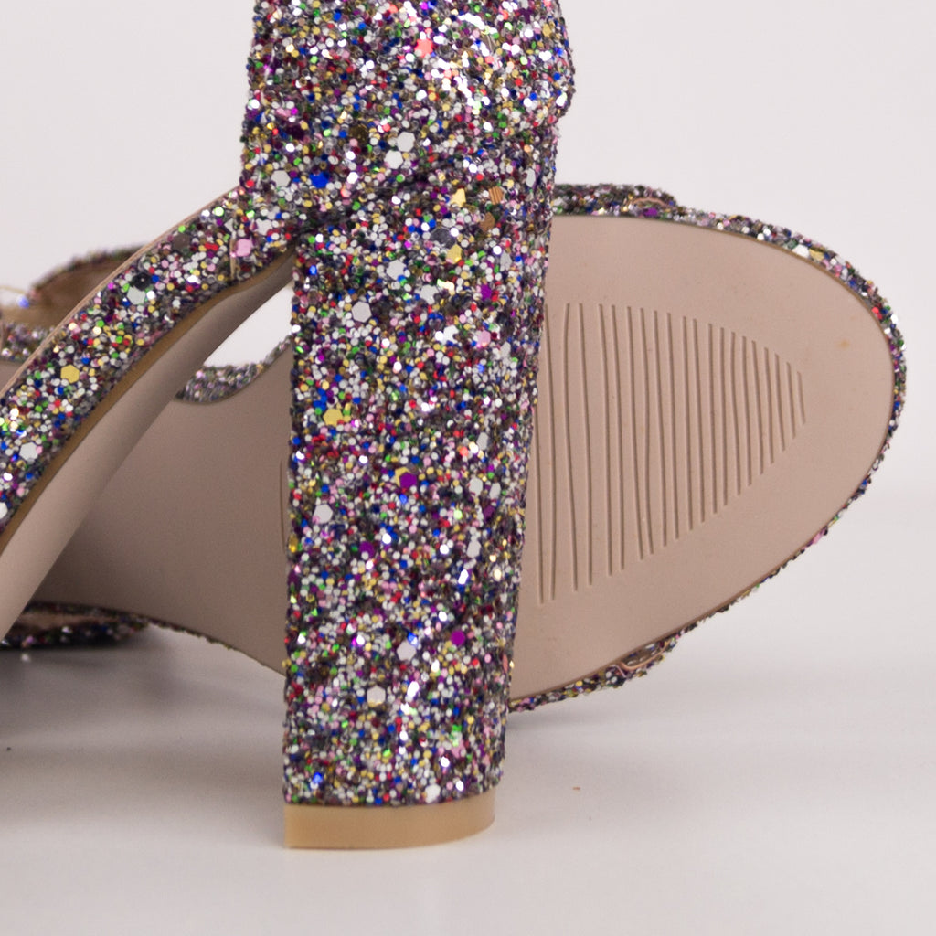 MARYLIN 10cm - Multi-Glitter Block Heels
