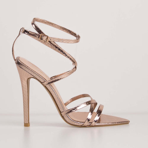 PRUE - Rose Gold Stiletto Pointed Heels