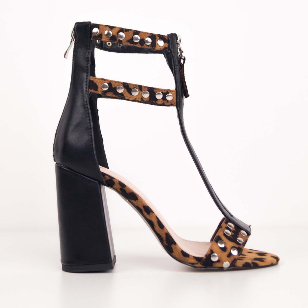 LINSLEY - Black and Leopard Studded Block Heels