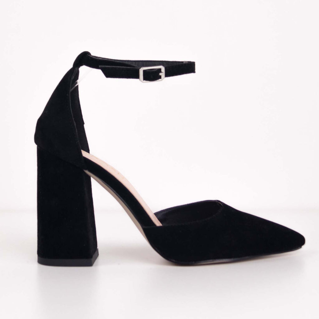 STELLA - Black Court Block Heels