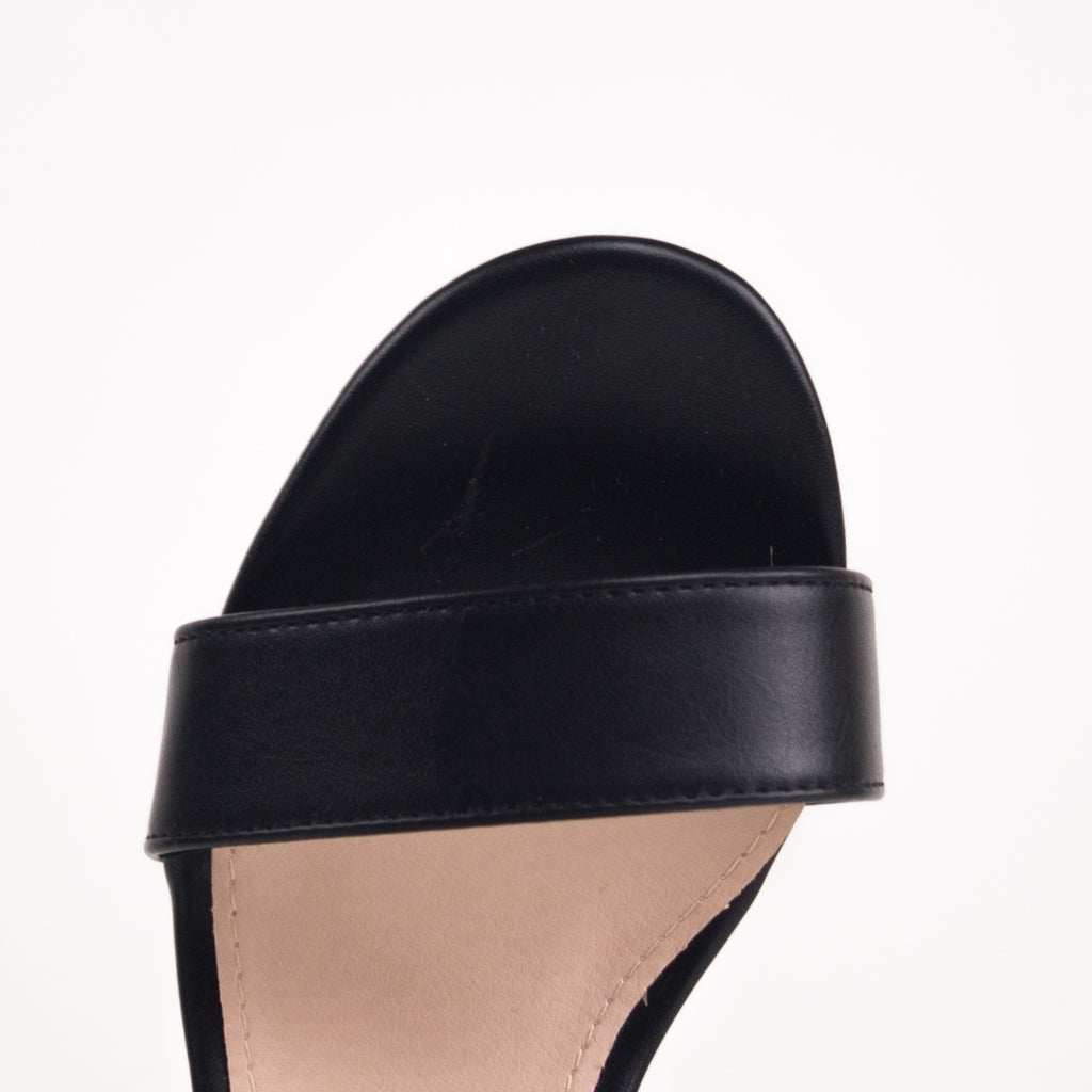 TRACY - Black Studded Mid-Heel Sandal