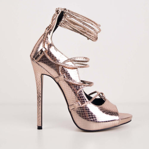 GAIA ROSE GOLD - Snake Lace Up Stiletto Heels