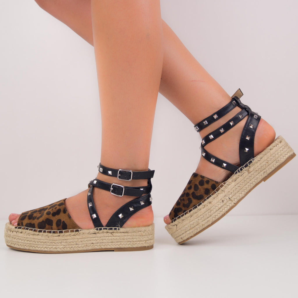 MINDY - ESPADRILLES LEOPARD WITH LACES AND STUDS
