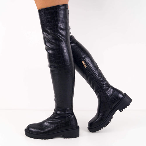 MILA - Black croc over the knee boots with thick flatform