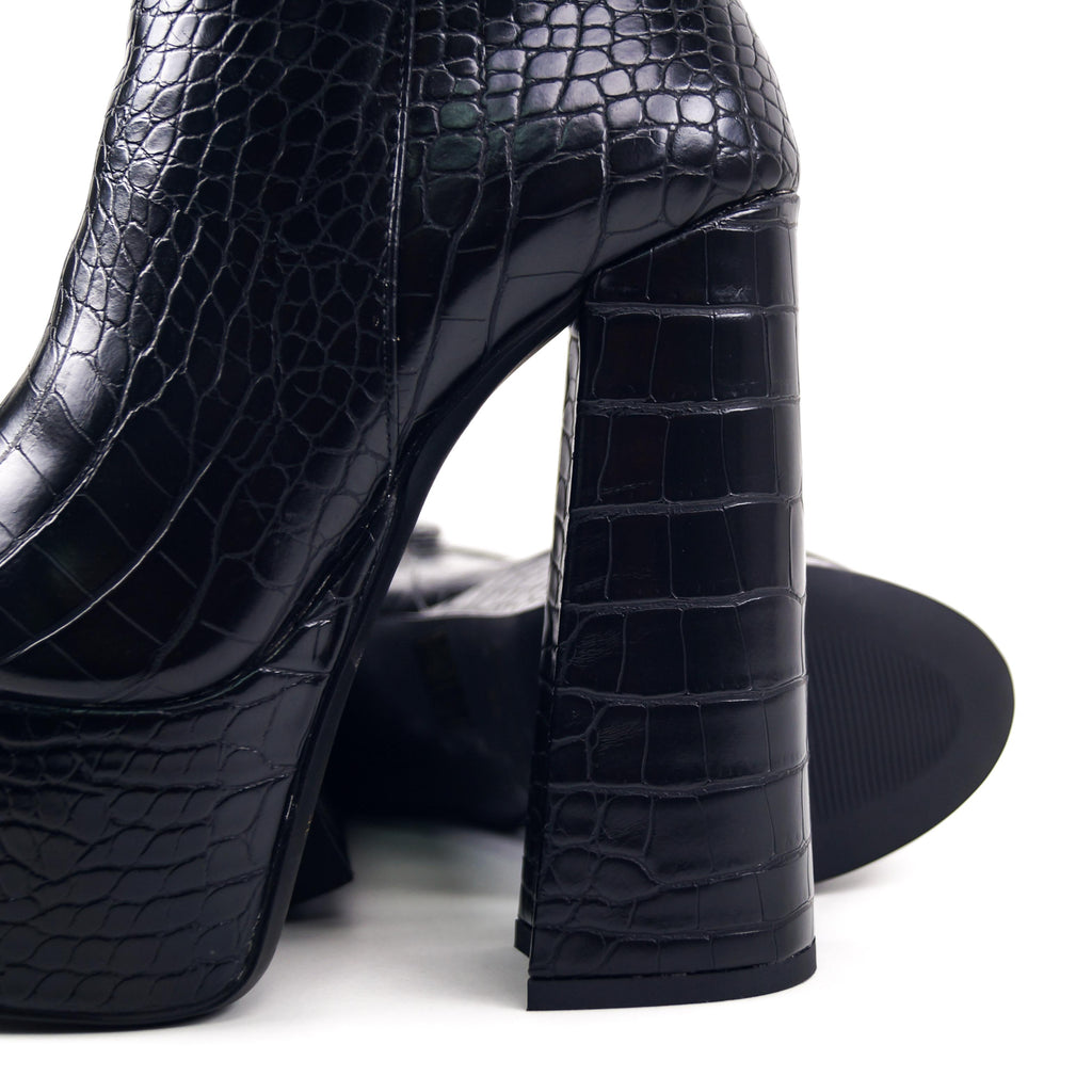 BROXY Croc- Platform Ankle Boots and Buckle