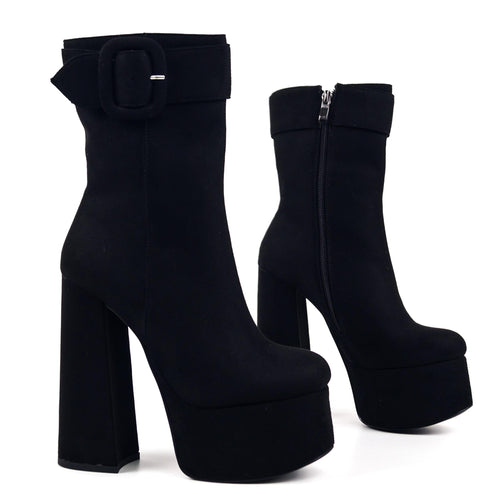 Broxy Faux Suede - Platform Ankle Boots with Buckle
