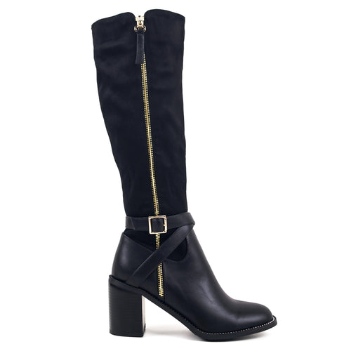 Stacy - Block Heeled Knee High Boots