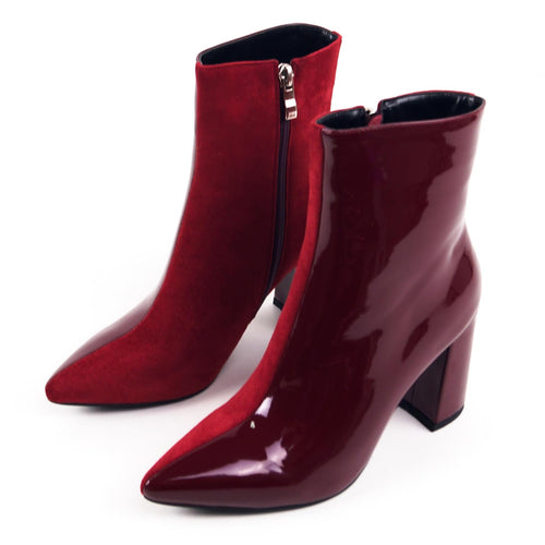 CHERRY Duo Patent-Suede Ankle Boots with Block Heels