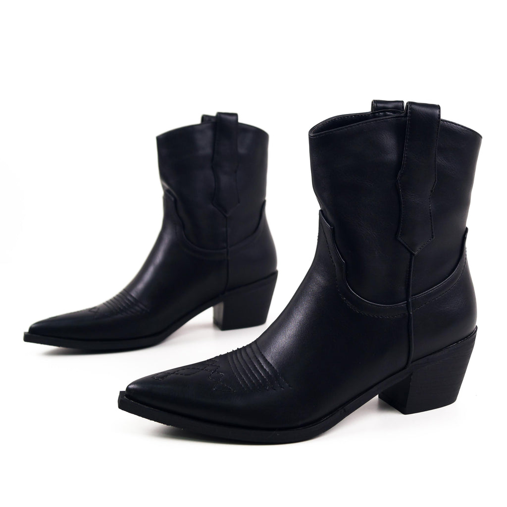 MARLEY - Western Ankle Boots in Black Faux Leather