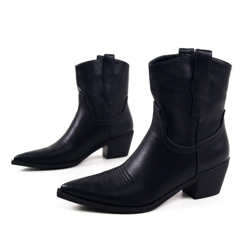 MARLEY Western Ankle Boots in Black Faux Leather