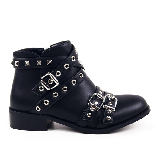 Holly - Studded Ankle Biker Boots