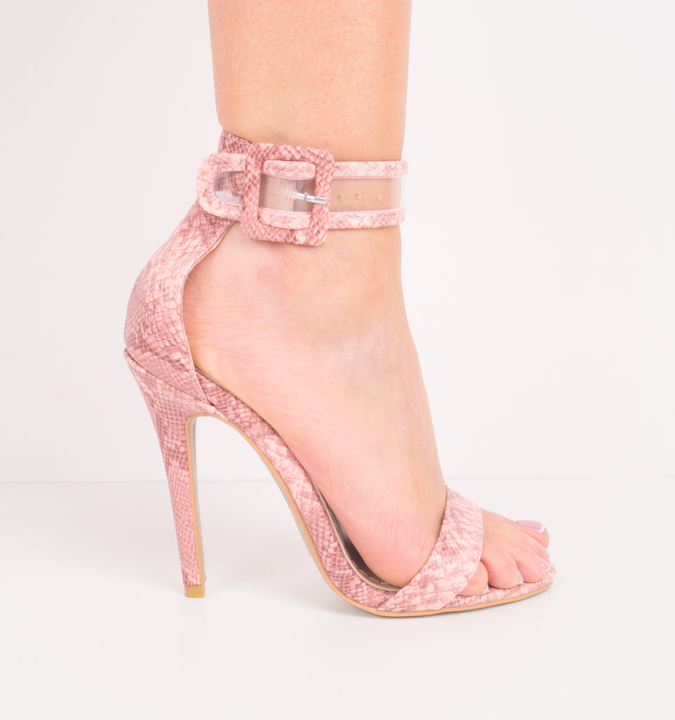 SOPHI - Clear Pink Snake Ankle Strap Stiletto Heels
