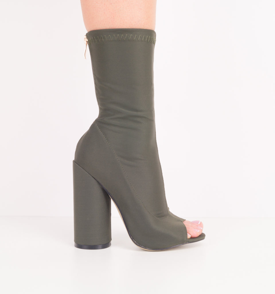 Noemi Peep Toe Ankle Boots Green
