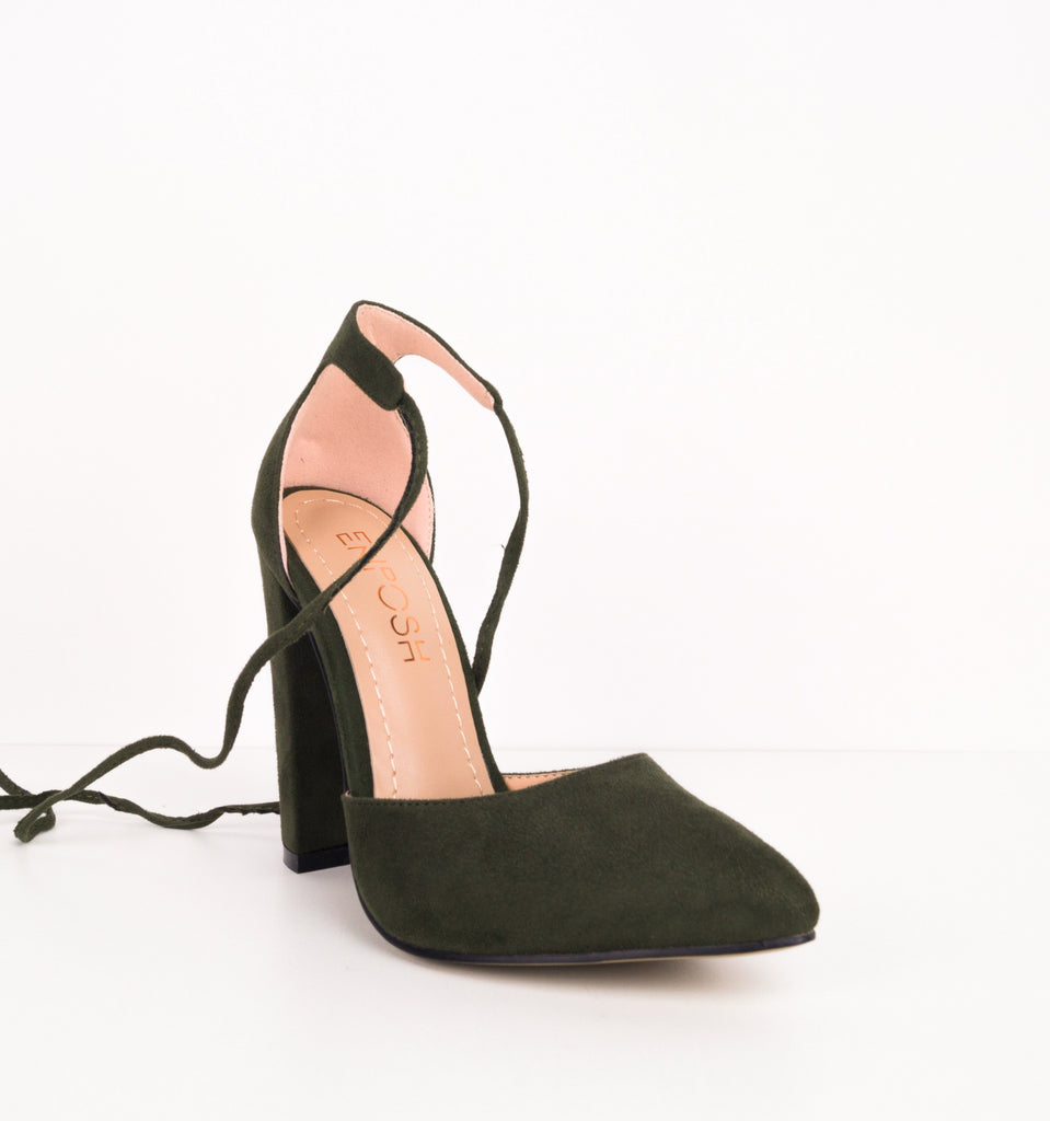 Fey Lace up Block Court Shoes