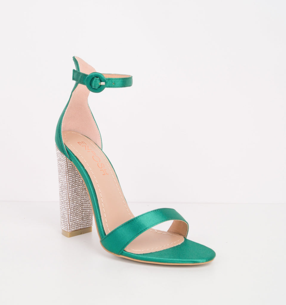 YASMINE - Satin Sandal with Block Diamante Heel