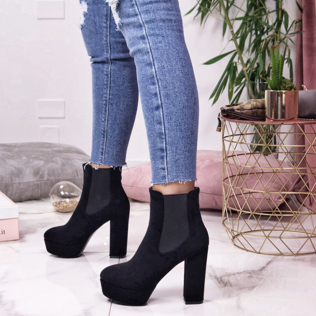 SYDNEY Suede Platform Ankle Boots and Block Heels